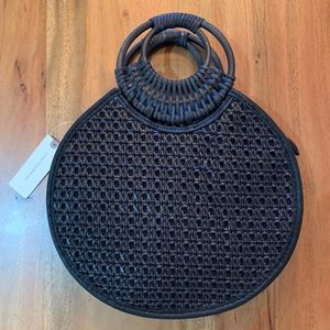 Anthropologie Marianne Black Woven Circle Bag